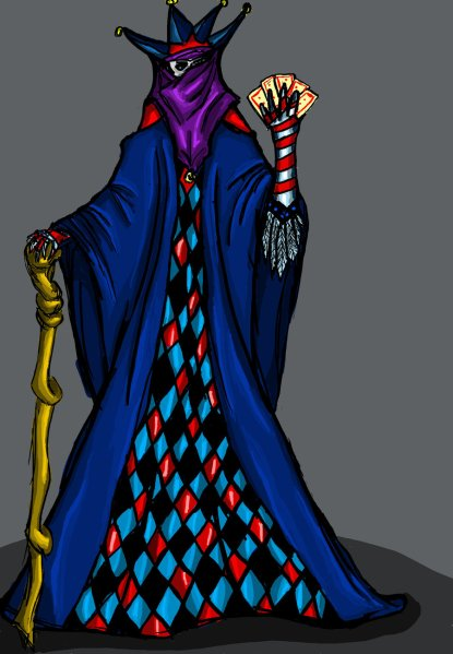 "My very first digital drawing, weho! (not counting the Paint-art me and my sister made as children, that is). ""Enigma"" was an NPC for a Vampire: The Dark Ages I ran some years back. I remember him as being a Malkavian and a court jester for the city's undead ruler. I don't remember if I used layers but I don't think so. I'm still quite pleased with this one, all things considered."